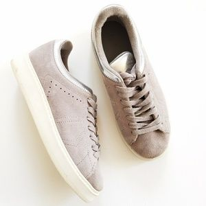 Zara Grey Suede Silver Leather Plimsolls Sneakers